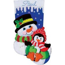 Counted Cross Stitch Kit  SNOWMAN & PENGUIN  STOCKING