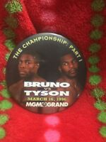 BRUNO VS TYSON March 16, 1996 MGM Grand Las Vegas PROMOTIONAL BUTTON PIN