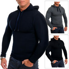 Mens Sport Hoodie Slim Fit Grey Black Blue Stretchy Cotton Fitness Gym Wear S-XL