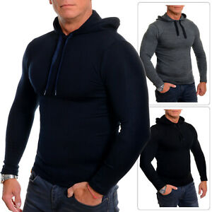 Mens Sport Hoodie Slim Fit Grey Black Blue Stretchy Cotton Fitness Gym Wear S-XL