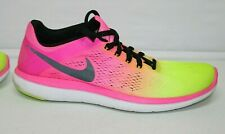 Nike Flex 2016 Run Running Men's Pink Yellow 11 Shoe Sneaker 844737-999