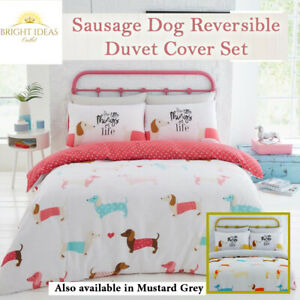 Duvet Cover with Pillow Case Quilt Cover Bedding Set Double King Sausage Dog