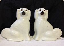 C1880. Staffordshire Flatback Mantle / Fireside Pottery Dogs With Glass Eyes Vgc