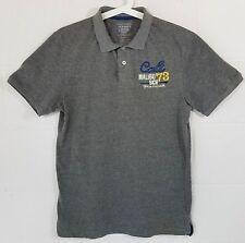 Old Navy Men's Gray Polo Shirt Size Medium Short Sleeve Cali Malibu Embroidered