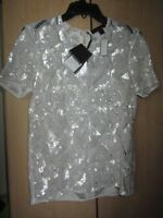 Ladies Burberry Prorsum Hand Embroidered Lace Shirt --White