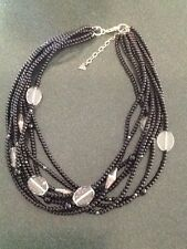 "Silpada N1973 Sterling, clear and black glass beads 18"" with 2"" extender"