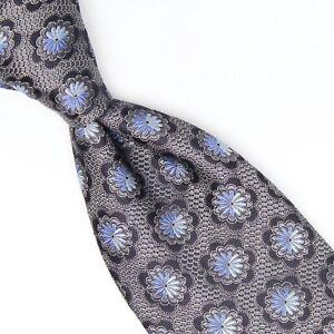 Ermenegildo Zegna Selvedge Mens Silk Necktie Gray Navy Blue Floral Weave Tie