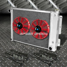 "3-ROW ALUMINUM RADIATOR+2X 9"" FAN KIT RED FOR 67-69 CHEVY CAMARO/FIREBIRD T/A"
