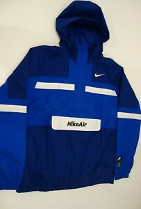 Nike Sportswear Air Woven Half Zip Pullover Blue Hooded Jacket CJ4834-455 L-Tall