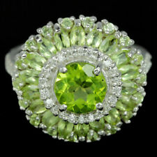 NATURAL APPLE GREEN PERIDOT & WHITE CZ 925 STERLING SILVER RING SZ 6.75
