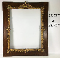 Antique French Oak Frame, Raised Gold Appliqué Rocaille, Mirror or Painting, 26