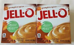 2 Boxes Jello-O Pumpkin Spice Pudding Pie Filling Fall Flavor