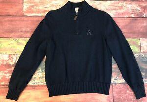 Martin Men's Golf Sweater Pure Merino Wool Lined Size Medium Navy Interior Vents