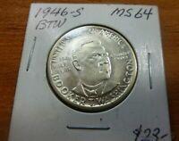 1946s Booker T Washington  US COMMEMORATIVE HALF DOLLAR SILVER COIN BTW46MS64