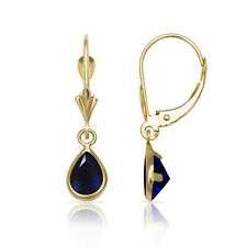 Blue Sapphire Pear Shape Bezel Drop Dangle Leverback Earrings 14K Yellow Gold