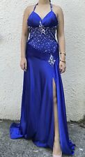 Sexy Royal Blue Halter beaded Sequinned semi formal prom dress gown 8 10 12 14