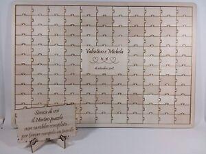 Guestbook puzzle legno matrimonio battesimo compleanno personalizzabile 156 tag