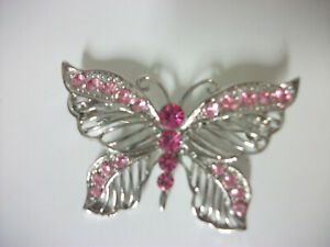BUTTERFLY SILVERTONE PIN BROOCH FILIGREE WITH PINK STONES BEAUTIFUL