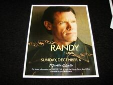 "Randy Travis Live In Concert Las Vegas Matted Concert Ad Promo 15"" x 12"" New"