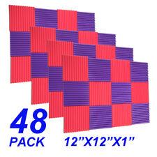 48Pack1x12x12 Red purple Acoustic Panels Studio Soundproofing Foam Wedge tiles