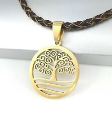 Gold Spiral Celtic Tree Of Life Pendant Brown Braided Leather Choker Necklace