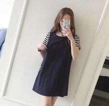 Navy Blue Maternity & Nursing Casual Cotton T-Shirt Dress Top Size 8 10 12 14