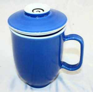 "The Tea Spot Tech Blue Teaware Infuser Cup Blue 3 Piece Strainer Cup Lid 5 3/4"""