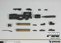 """1/6 11cm Black P90 Gun Weapon Model ZYTOYS ZY2011A Fit 12"""" Action Figure Toys"""