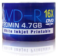 50 Aone DVD-R Discs White Inkjet Printable 4.7GB 16X Speed 120min 50 Spinde Pack