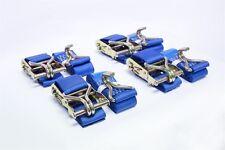 4x Sangle à cliquet ATTACHE BAS 2T 5m X50MM acier levier et double crochet