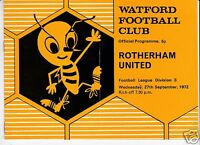 WATFORD  V  ROTHERHAM UTD  3RD  DIVISION  27/9/72
