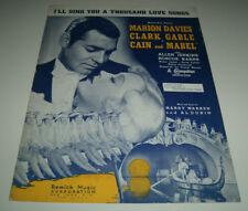 "CLARK GABLE 1936 sheet music ""I'LL SING YOU A THOUSAND LOVE SONGS"" ""CAIN & ABEL"""