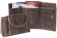 Wild Nature® Mini Geldbörse & Schlüsseltasche aus feinem Leder in Dunkelbraun