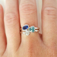 925 Silver Aquamarine & Sapphire Rings Wedding Engagement Jewelry Gift Size 6-10