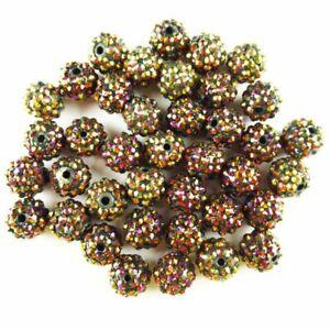 10Pcs 8g Faceted Coffee Titanium Crystal Ball Pendant Bead JZ14
