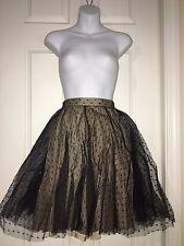 $495 RED Valentino Tulle Point d'Espirit A-Line Skirt Beige sz 8 44