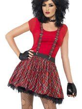 80s Punk Kit Tutu Braces Gloves Adults Tartan Fancy Dress Outfit