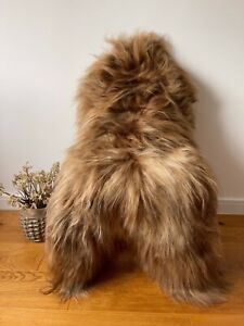 XL Large Genuine Icelandic Sheepskin Sheep Rug Honey/Caramel Brown/Blonde NEW