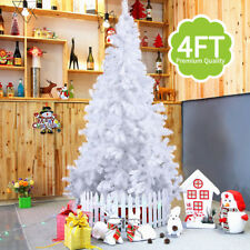 Deluxe White 4ft Artificial Christmas Trees with Plastic Stand Xmas Decor New