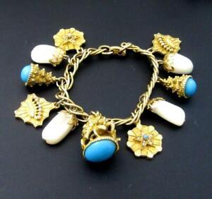 Vintage Charm Bracelet watch fob charm and more faux turquoise