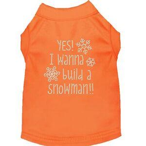 Mrage Pet Products Yes want to buld a Snowman Rhnestone Dog Shrt Orange XS (8)