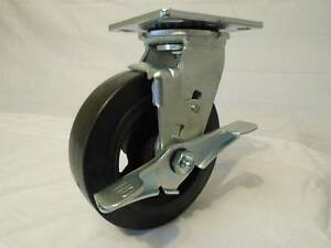 "6"" x 2"" Swivel Caster Rubber Wheel on Steel Hub w/ Brake 550lb ea Tool Box"