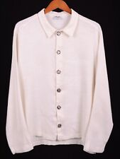 CP Shades White Slubby Linen Button Front Womens Cropped Langenlook Shirt L