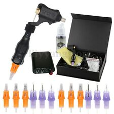 PRO Rotary Tattoo Motor Machine Power Supply Kit + 12X Tattoo Cartridge Needles
