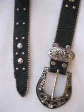 Leatherock Black/Silver Textured Belt Silver Swarovski Crystals - Medium M Waist