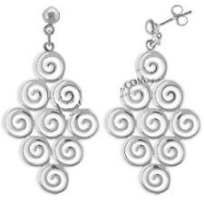 Ancient Greek Sterling Silver Earrings - Cluster of Nine Swirl Motif (39mm)