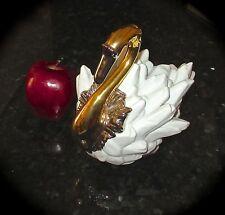 """Vintage """"SAN MARCO"""" PORCELAIN- Lg. SWAN- White w/ Gold+Platinum Decoration- EUC"""
