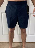 "Lululemon Mens Size L THE Short 9""  Linerless Blue HABM Train Core Run Yoga NWT"