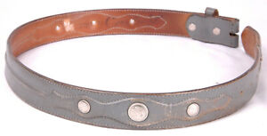CIRCLE Y Western Leather Belt-34-Grey-Conchos-Leather-8781A-No Buckle-Vtg
