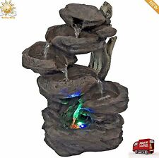 Indoor 6-Tier Tabletop Fountain Waterfall With Multicolor LED Lights New
